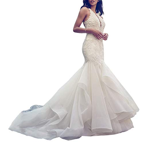 Women's Mermaid V Neck Wedding Dresses Embroidered Organza Ruffles Skirt Wedding Gowns for Brides White