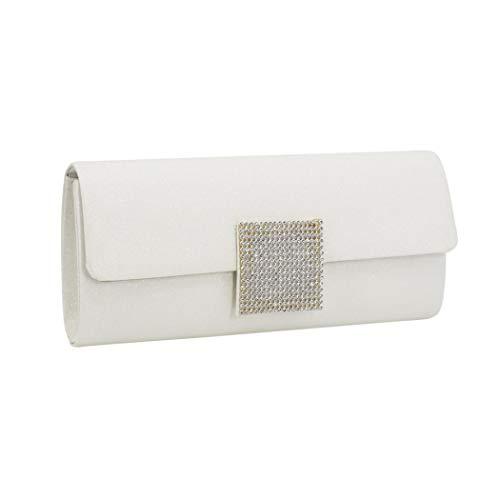 Evening Clutch Evening Bag Pleat Satin Evening Envelope bag Purse Handbag (White) ()