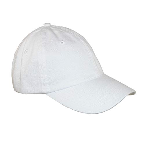 Valucap Twill - Valucap Kids' Cotton Twill Solid Color Summer Baseball Cap, White