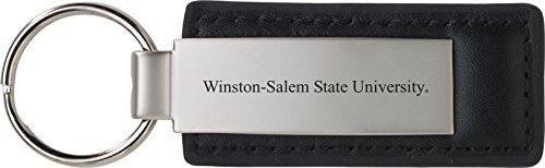 Winston-Salem State University - Leather and Metal Keychain - Black