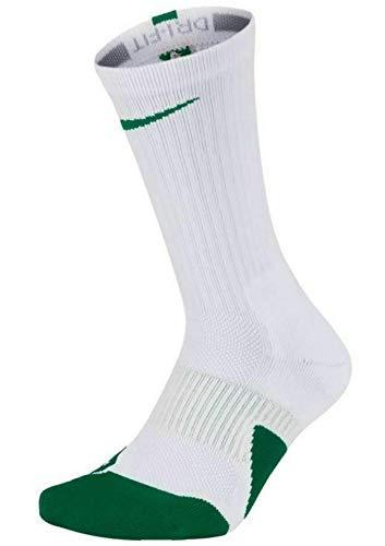 Nike Dry Elite 1.5 Crew Basketball Socks (1 Pair) (Medium, Hyper Green/White/White) (And White Nike Elite Green Socks)