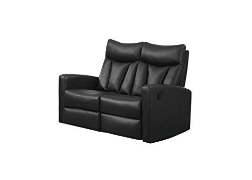 Monarch Specialties I 87BK-2 Reclining Love Seat in Black Bonded Leather
