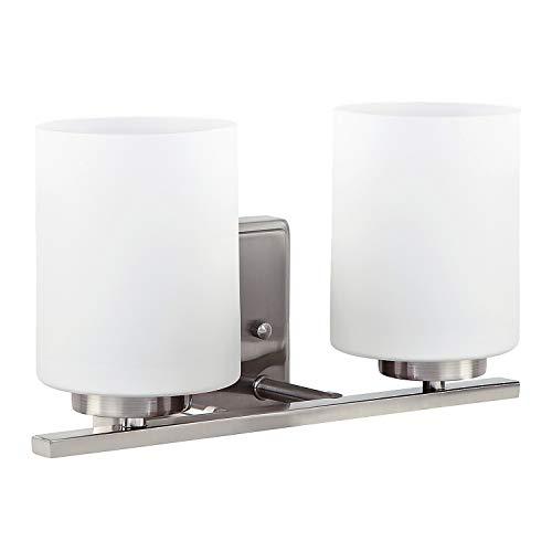 OSTWIN 2-Light Bath Bar Light Up or Down, Interior Bathroom Vanity Wall Lighting Fixture VF44, 2x60 Watt E26 Socket, Satin Nickel Finish with Opal Glass Shade, UL Listed ()