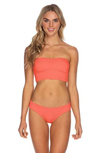 ISABELLA ROSE Women's Pucker Up Smocked Bandeau Bikini Top Coral L