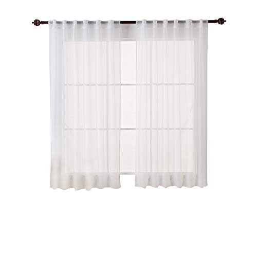 Deconovo White Sheer Curtains 63 inch Length-Back Tab and Rod Pocket Voile Drape Curtains for Living Room 2 Panels 52W x 63L inch