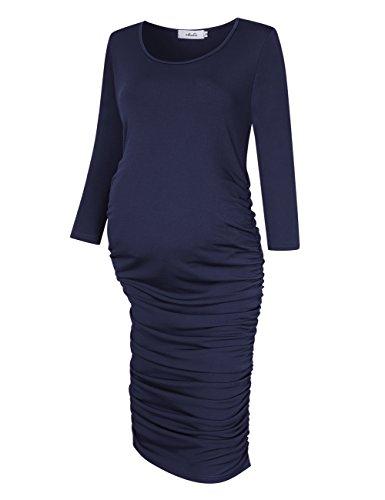 Maternity Dress Sleeve Ruched (MissQee Round Neck Ruched Maternity Dress, long sleeve maternity dresses (XL, Tibetan blue))