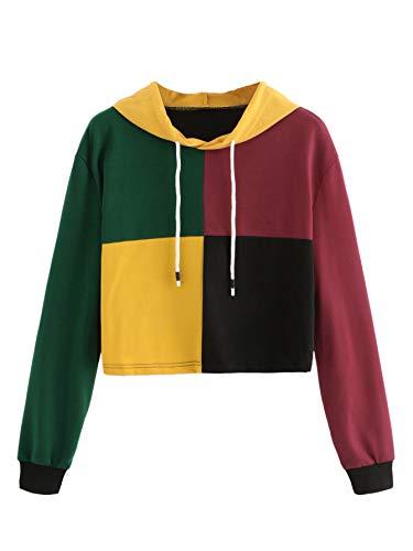 WDIRARA Women's Color Block Hooded Pullover Sweathshirt Long Sleeve Casual Crop Hoodie Multicolor S ()