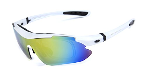 GAMT Polarized Sports Sunglasses White With 5 Pcs Lenses for Christmas Gift