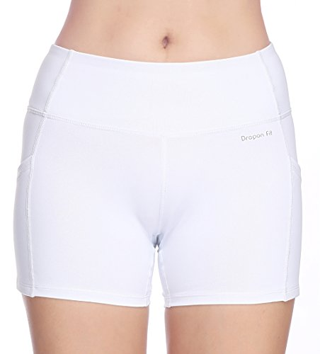 Dragon Fit Tummy Control Yoga Shorts High Waist Out Pockets Power Flex Workout Running Yoga Shorts 4 Way Stretch(Large, pockets-shorts15-white) by Dragon Fit (Image #3)