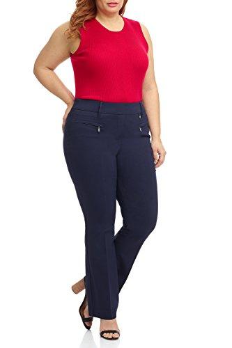 (Rekucci Curvy Woman Bootcut Plus Size Pant with Zipper Pockets (20W,Navy))
