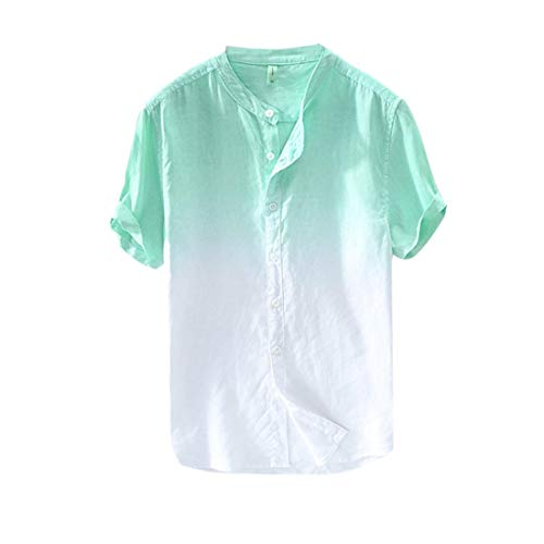 Summer Cotton Shirt Men Cool and Thin Breathable Collar Hanging Dyed Gradient Top D Green -