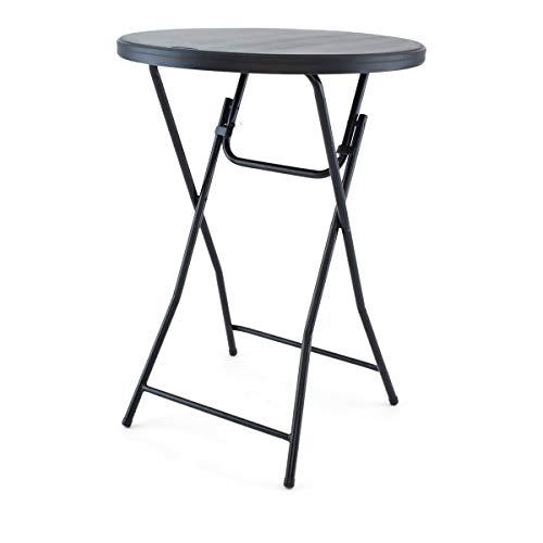 TitanPRO 32'' Blow Molded Plastic Folding Cocktail Table - Black