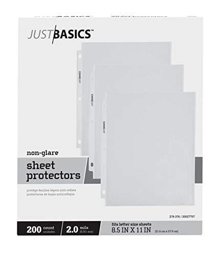 (Just Basics Top-Loading Sheet Protectors, Lightweight, Semi-Clear, Box of 200)
