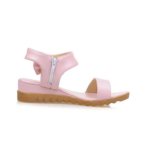 AllhqFashion Women's Solid PU Low-heels Open Toe Chains Wedges-Sandals Pink Eed9a