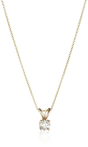 "14k Yellow Gold 16"" Adjustable to 18"" 4-Prong Set Round-Cut Diamond Pendant (1/2 cttw, J-K Color, I2-I3 Clarity)"