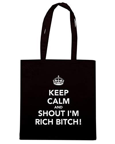 Speed Shirt Borsa Shopper Nera TKC0394 KEEP CALM AND SHOUT I'M TICH BITCH!