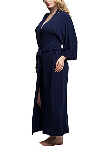 Womens Cotton Robe Soft Kimono Robes Knit Bathrobe Loungewear Sleepwear Long Bathrobe Nightgown