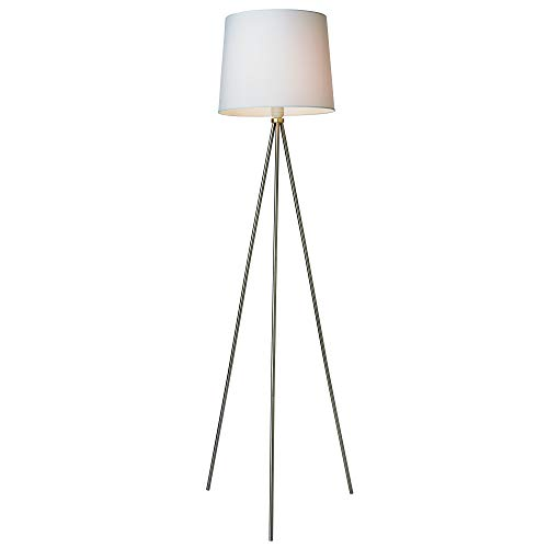 Newhouse Lighting NHFL-AL-SI Alexandria Contemporary Tripod Floor White Lamp Shade & E26 Light Socket-Free LED Bulb Included, Silver