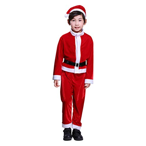 Child Santa Claus Costume Christmas Santa Suit for Kids Boys Fancy Party Outfit Ages 6-9 -