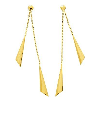 VIALA - Boucles d'oreilles Pendantes - Or Jaune 18 carat - Systèmes Poussettes - www.diamants-perles.com