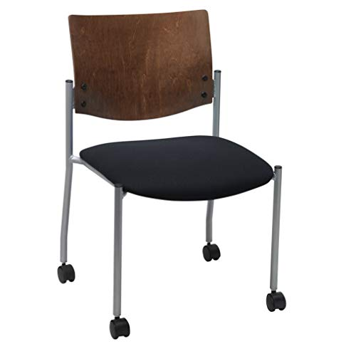 (Evolve Series Guest Chair, Armless with Wood Back and Casters, Black fabric Chocolate Back)