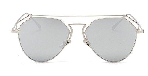 GAMT Fashion Vintage Unisex Aviator Sunglasses Metal Frame Mirrored Lens - Clear Glasses Uk Aviator Lens