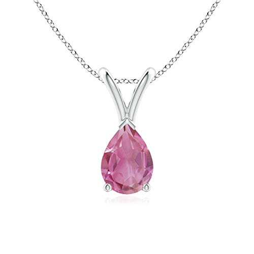 (V-Bale Pear-Shaped Pink Tourmaline Solitaire Pendant in Silver (7x5mm Pink Tourmaline))