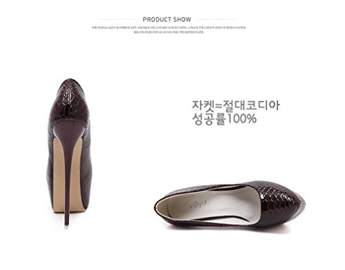 Sexy Xianshu Du Chaussures talons Vin hautes à Serpentine extra Women étanches CUU5xRwA