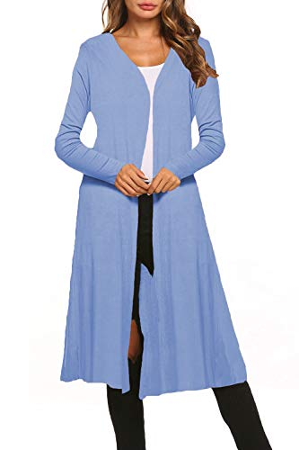 BLUETIME Women Casual Plus Size Open Front Long Cardigan Maxi Duster Long Sleeve Lightweight Cardigans (XXL, Light Blue)
