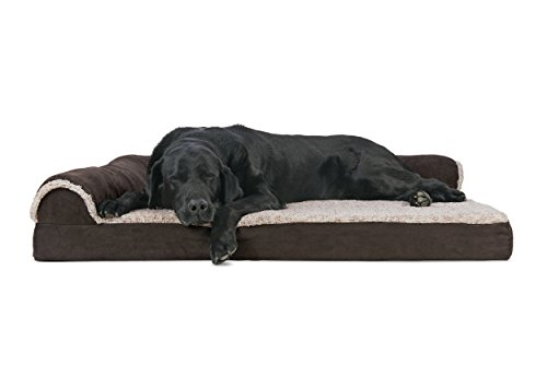 Furhaven Pet 44541081 Jumbo Two-Tone Faux Fur & Suede Deluxe Chaise Lounge Orthopedic Sofa Pet Bed, (Deluxe Pet Bed)
