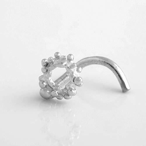 Unique Indian Screw Nose Ring Stud, Made of Sterling Silver, Circle Shaped, Fits Tragus, Cartilage, Helix Earring, 20g, Handmade Piercing Jewelry