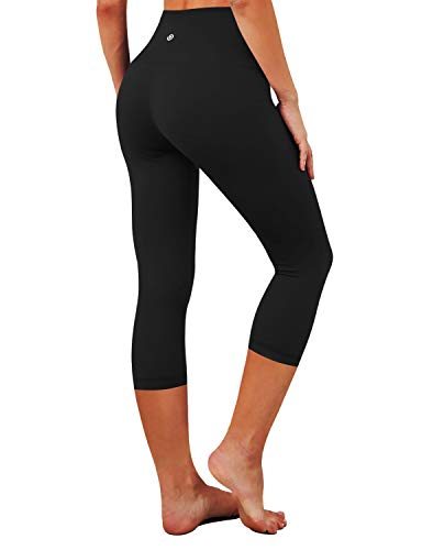 BUBBLELIMEHigh Compression Yoga Capris Running Capris for Yoga High Waist Moisture Wicking UPF30+, Bwsb028 Black, Large(19