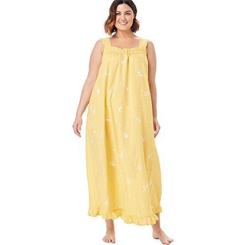 Dreams & Co. Women's Plus Size Long Embroidered Gown - Warm Yellow, 26/28