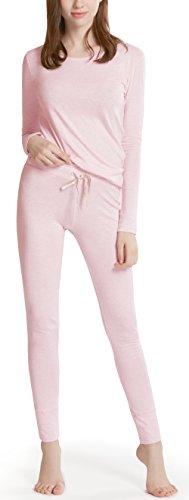 Pink Pyjama Pants - Ink+Ivy Long Sleeve Pajamas for Women, Cotton Modal Lounge Wear - Comfy Pajama Set with Picot Trim Top & Leggings Dreamy Pink L