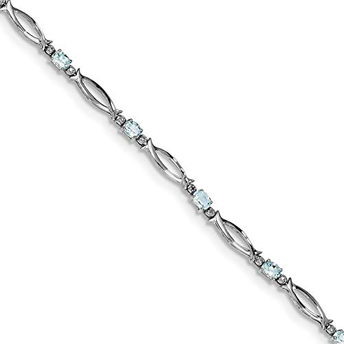 925 Sterling Silver Rhodium-plated Polished Oval Aquamarine & Diamond Open Link Tennis Bracelet ()