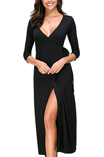 - Lamilus Bodycon Dress,Women's Sexy Deep V-Neck Faux Wrap Midi Dress 3/4 Sleeve Solid Evening Dress with Belt,Black,Large
