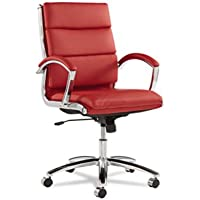 ALERA NR4239 Neratoli Series Mid-Back Swivel/Tilt Chair, Red Leather, Chrome Frame