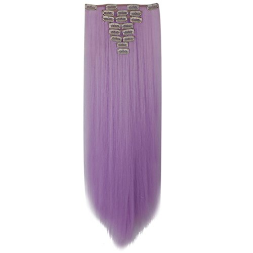 LHFLIVE Womens 18 Clips 8pcs Full Head Hair Extensions 26 Inch Long Straight Light Purple Hairpiece ()