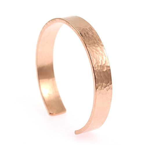 10mm Wide Hammered Copper Cuff Bracelet By John Brana Handmade Jewelry 100% Uncoated Solid Copper Cuff (7 Inches)