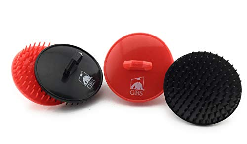 GBS Shampoo Scalp Massage Brush No.100 4 Pack (2 Black and 2 Red Brushes) The Best Invigorating Head Scrubber! - Hair Round Wash Brush