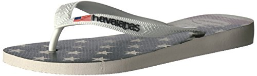 Havaianas Men's Flip Flop Sandals, USA Flag White , White,39/40 BR (8 M US)