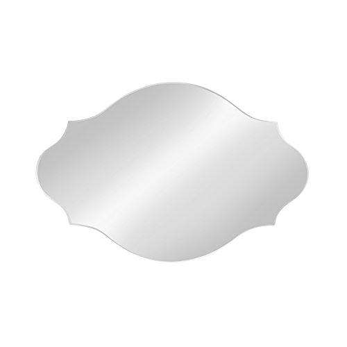 DesignOvation Reign Frameless Oval Scalloped Beveled Mirror, 20×30