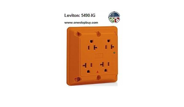 Leviton 5490-IG 4-In-1 Quad Receptacle Surge Isolated Ground Industrial Grade 5-20R 20A 125V - Orange (Pkg of 10) - - Amazon.com