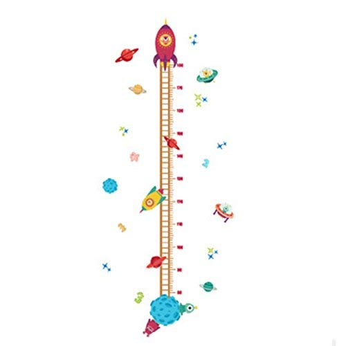 (Spaceship Rocket Growth Height Chart Wall Stickers Wall Decals Removable Art Home décor PVC for Kid Room Bedroom Wallpaper)
