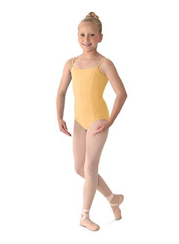 - Mirella Girl's Princess Seam V-Front Camisole Leotard, Buttercup, 8-10
