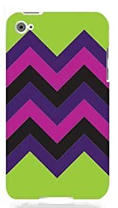 Chevron Pattern Lime Green, Pink & Purple HIPSTER Quality Hard Snap On For SamSung Galaxy S5 Mini Case Cover (WHITE)