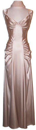 Satin Glam Holiday Formal Gown Prom Bridesmaid Dress, 2X, Gold