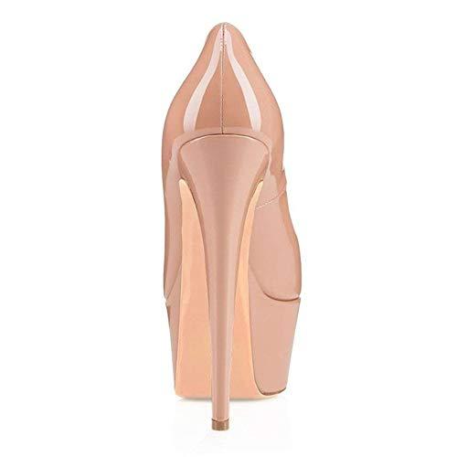De Nude Plataforma Toe Cerrado On Tacones Super open Mujer Heels Moda Stiletto Zapatos Doble Caitlin Pan High Boda La Slip t1fwqPT