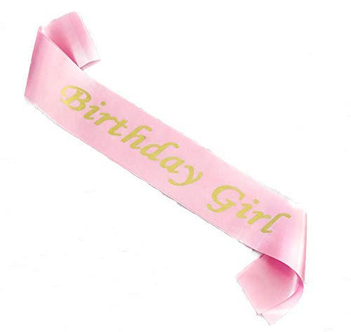 (Birthday Sash in Satin Pink with Birthday Girl Gold Lettering Decorations for Women and Girls for 16th 18th 21st 30th 40th 50th 60th 70th 80th Happy Party Favor Birthday)