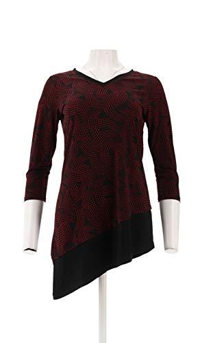 - Susan Graver Printed Liquid Knit Top Zipper Black XXS New A281141